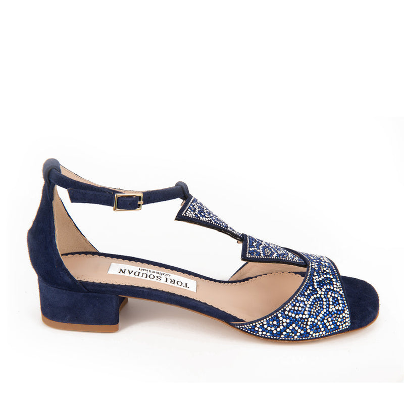navy blue sandals with Sworavski crystal embellishments and a slight heel