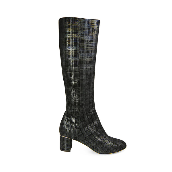 knee-high black boots with a low heel