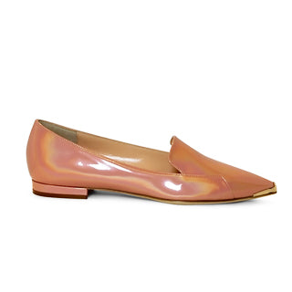 Iridescent Pink Patent Flats with brass pointed toe detail