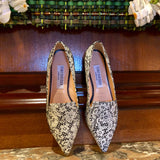 Black & White Lace Flats with brass pointed toe detail
