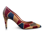 pumps with blue & red patchwork design