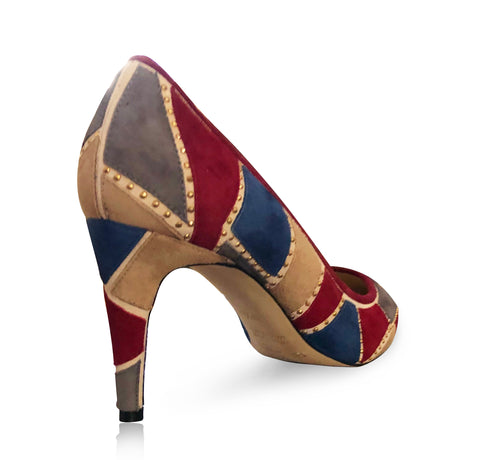 Shirley Patchwork Mid Heel-Blue Red, Shoes - Tori Soudan Collection