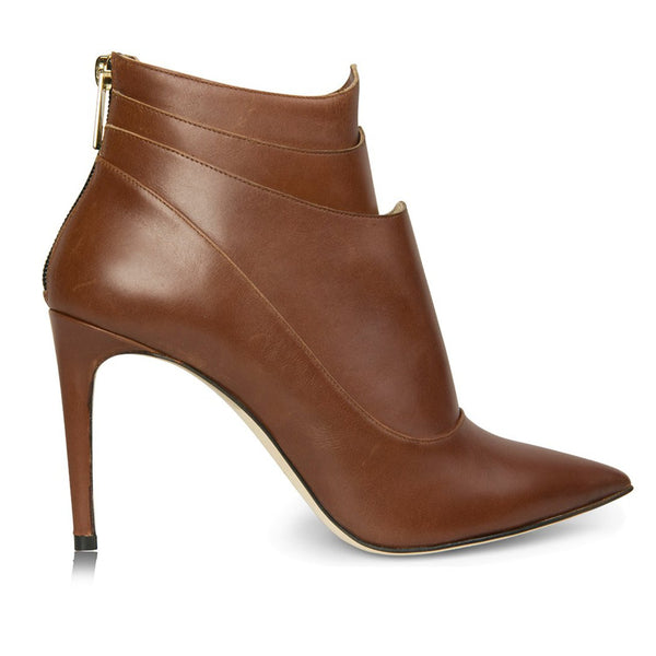 leather cognac brown booties