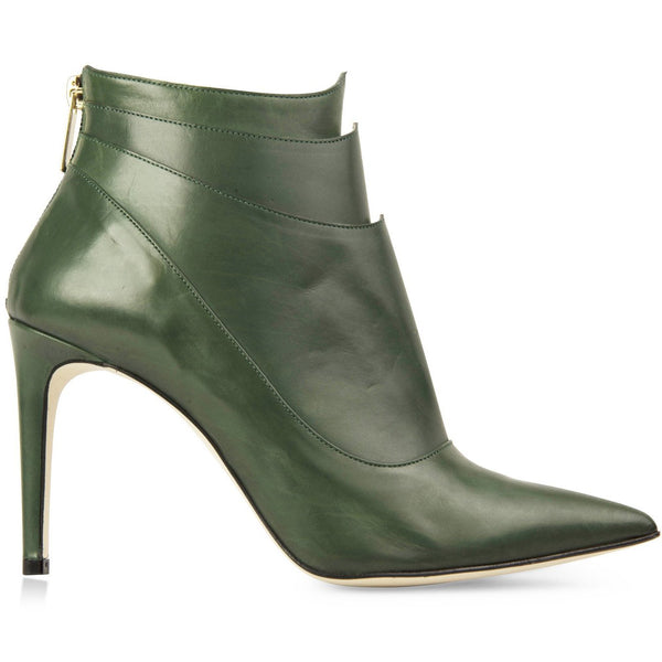 leather green booties