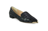 Black flats with brass pointed toe detail
