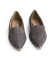 Light purple flats with brass pointed toe detail