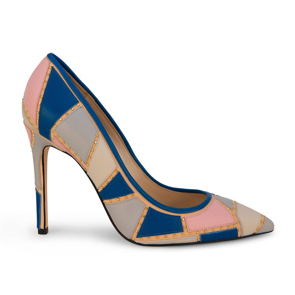 Pumps with blue/pink patchwork design