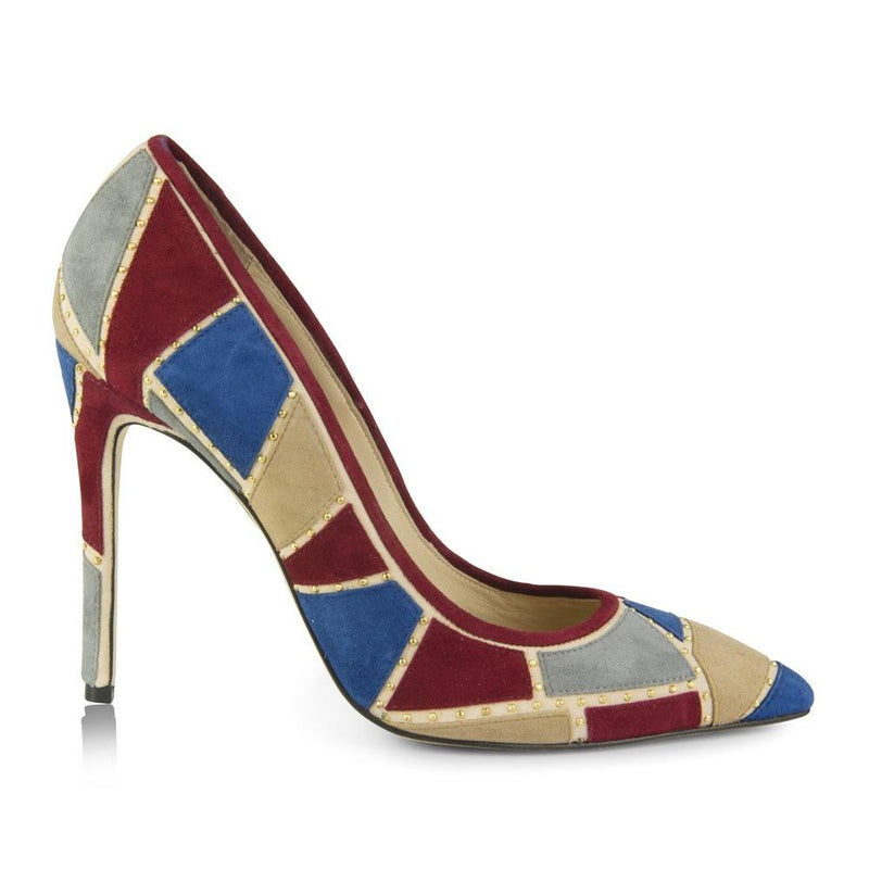 pumps with blue/red patchwork design