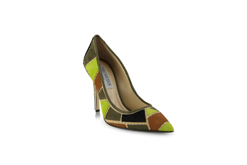 Pumps with green patchwork design