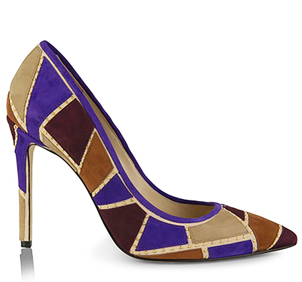 pumps with multicolored patchwork design