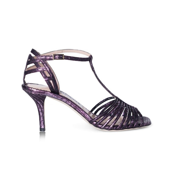 purple strappy sandals with a slight heel