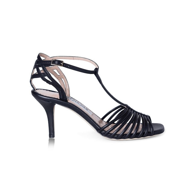 Black strappy sandals with slight heel