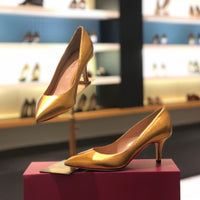 Shirley Kitten Heel-Gold Patent, Shoes - Tori Soudan Collection