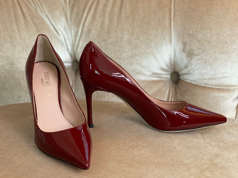 Shirley -  Cranberry Patent (Mid-Heel)