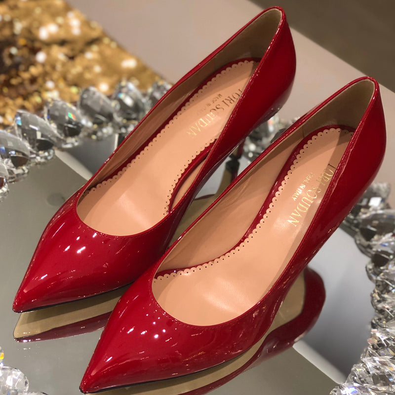 Shirley Kitten Heel-Red Patent
