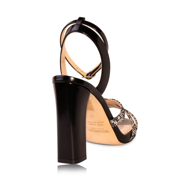 Black & White Block Heel Sandals