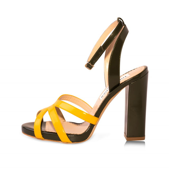 Green & Yellow Block Heel Sandals