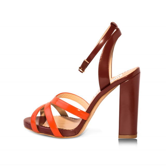 Maroon & Orange block heel sandals