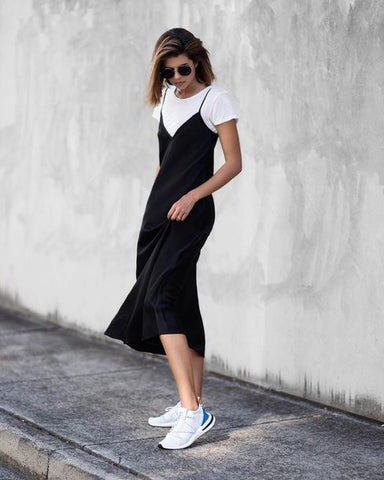 White t-shirt and midi dress - Liam and Co.