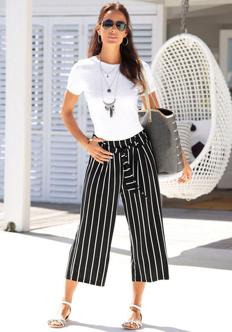 white tee shirt with striped capri pants - Liam and Co.