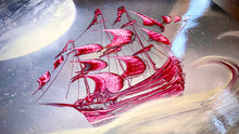 Red Ship on waves
