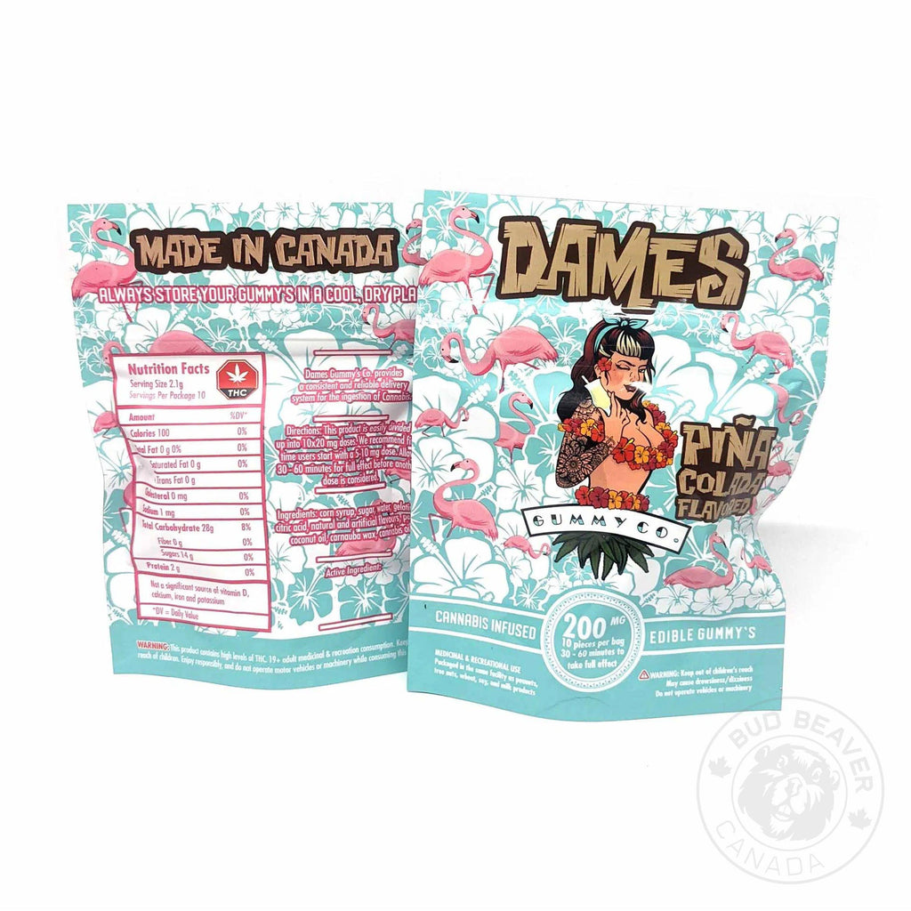 dames gummy co pina colada 200mg indica thc edibles