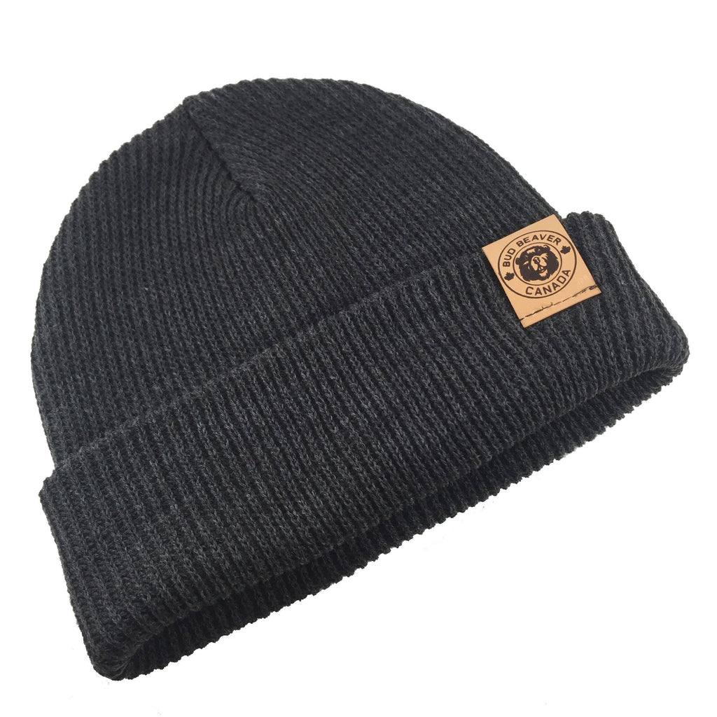 bud beaver toque charcoal with leather logo