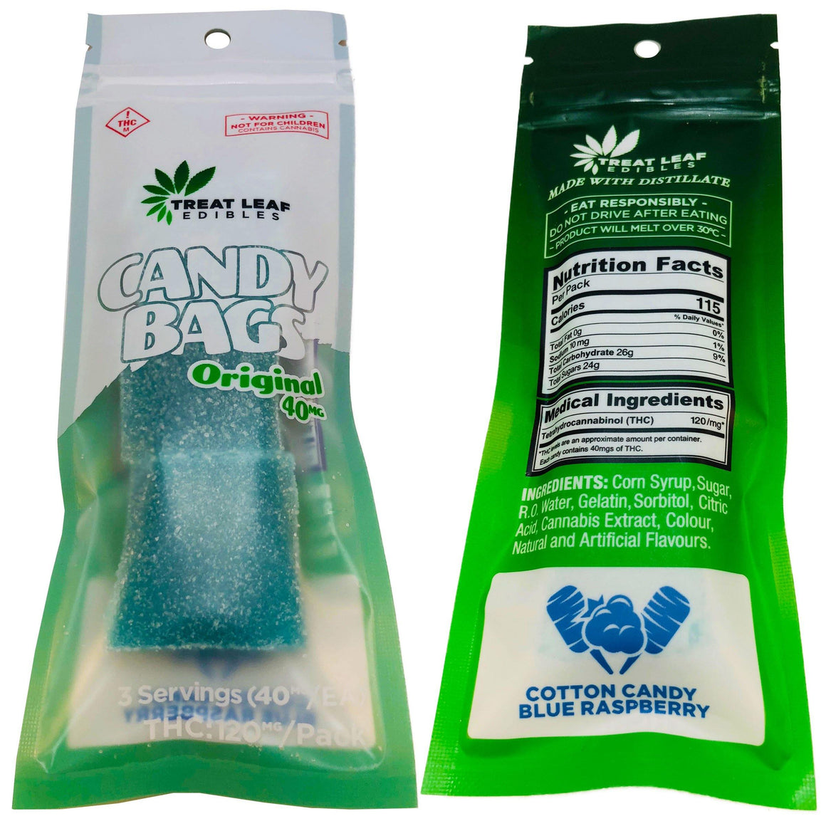 Treat Leaf Edibles Candy Bags Original 120mg THC 3 Pack Gummies