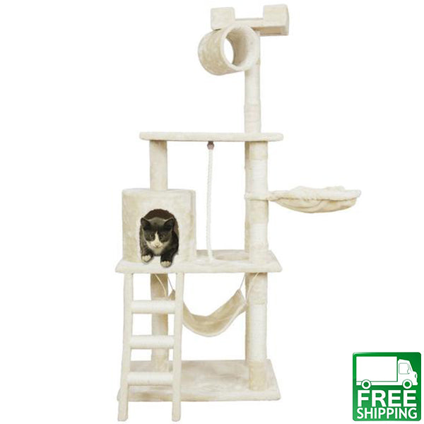 62   cat tree kitten activity tower condo with hammock deluxe scratching posts and rope  62  cat u0027s delux scratching post for full fledged fun  free shipping      rh   catitall