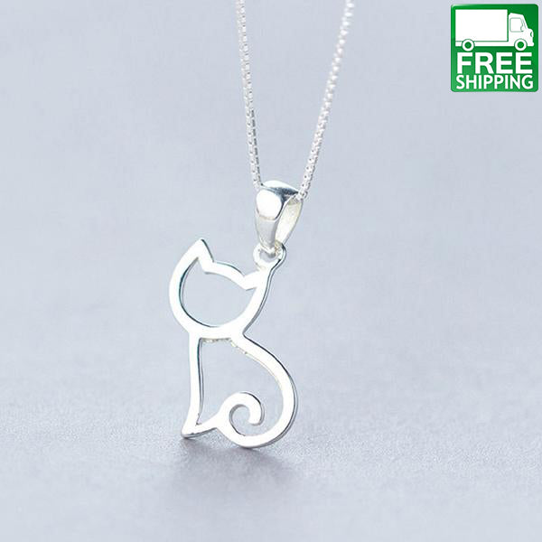 Delicate and beautiful sterling silver cat pendant necklaces cat delicate and beautiful sterling silver cat pendant necklaces mozeypictures Choice Image
