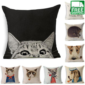 Smoking Cat Printed Pillowcase