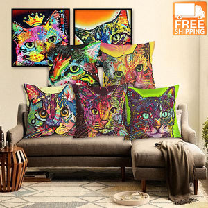 Home Decor Cat Print Cushion
