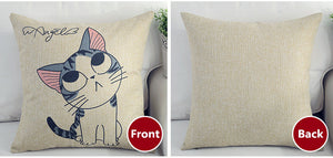 Cat Cotton Linen Pillowcase