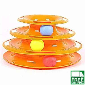 Spinning triple ball toy for cats