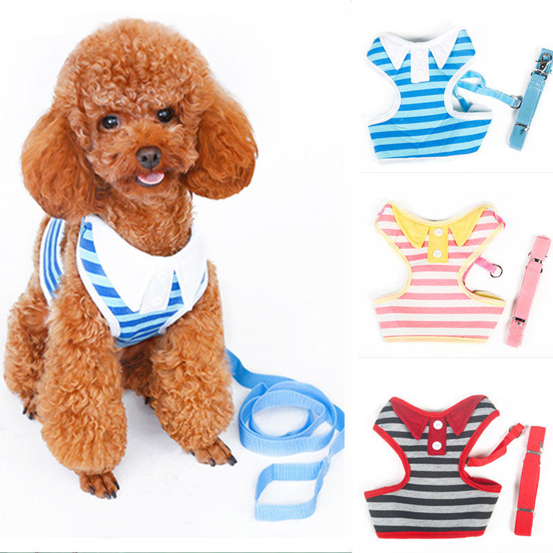 Cute Navy Style Harness + Leash Set