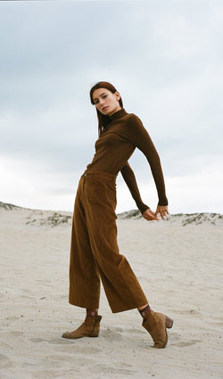 Logan - Brown Wide Leg Trousers