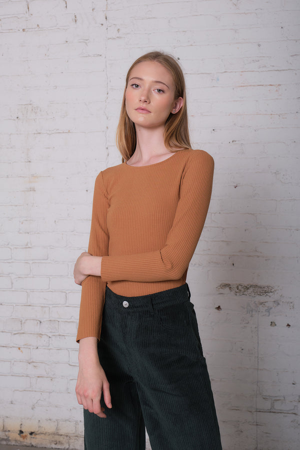 Zuma - Brown Long Sleeve Scoop Neck Top