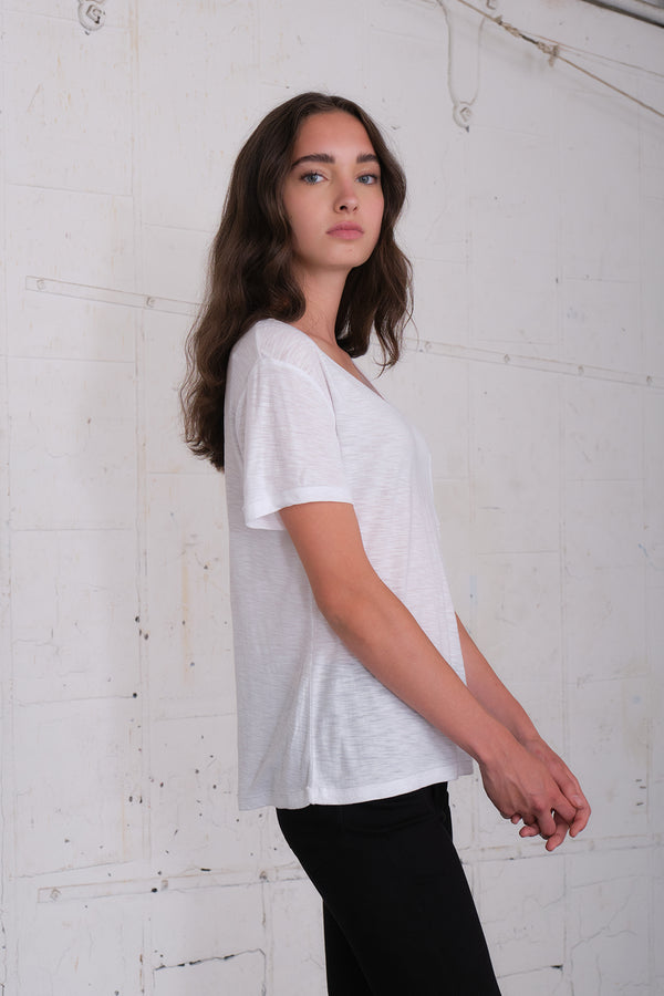 Malibu - White Voop Pocket Tee
