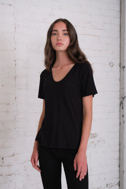 Malibu - Black Voop Pocket Tee