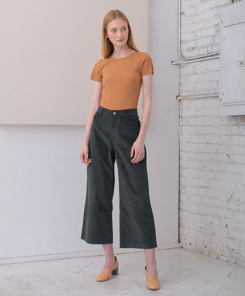 Logan - Dark Green Corduroy Wide Leg Trousers