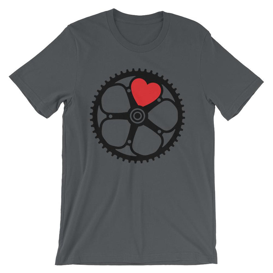 Heart Chainring Unisex short sleeve t-shirt - Urban Cycling Apparel