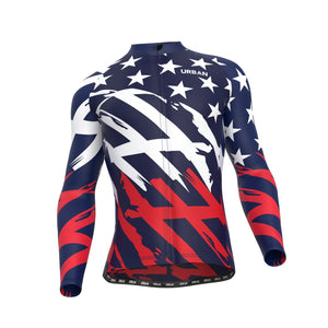 Men's All-American Regular Performance Fabric (Not Thermal) Cycling Long Sleeve Jersey, Cargo Bib Tights, or Kit Bundle - Urban Cycling Apparel