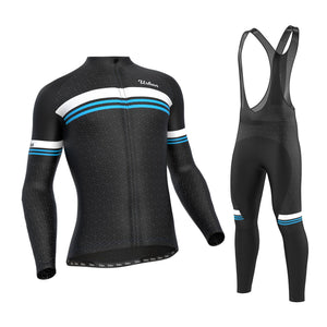 Men's Classic Black Regular Performance Fabric (NOT THERMAL) Cycling Long Sleeve Jersey, Cargo Bib Tights, Or Kit Bundle - Urban Cycling Apparel