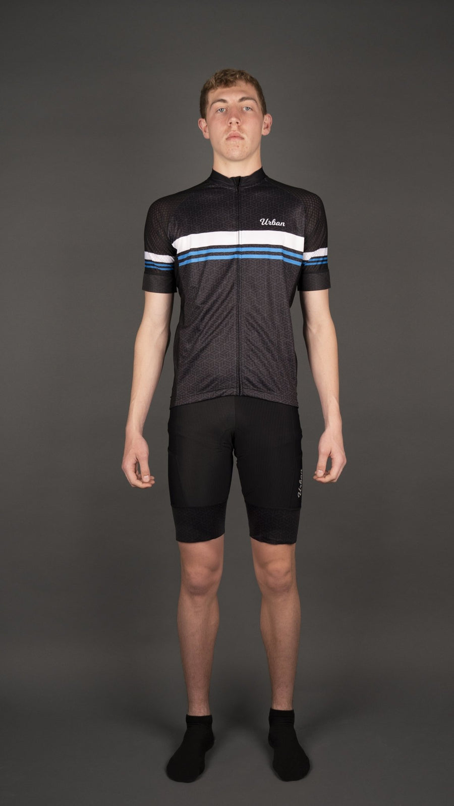 Men's Classic Black Short Sleeve Jersey, Bib Shorts - Urban Cycling Apparel