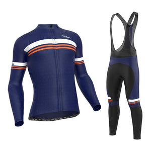 Men's Classic Blue Regular Performance Fabric (Not Thermal) Cycling Long Sleeve Jersey, Cargo Bib Tights, Or Kit Bundle - Urban Cycling Apparel