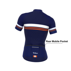 Men's Classic Blue Short Sleeve Jersey, Bib Shorts - Urban Cycling Apparel