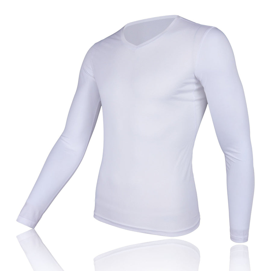 Men's Mesh Base Layer - White Long Sleeve Cycling Undershirt - Urban Cycling Apparel