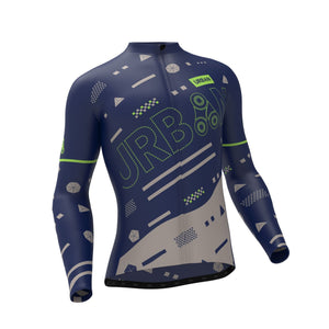 Men's Pro Urban Geo Thermal Cycling Long Sleeve Jersey, Cargo Bib Tights, or Kit Bundle - Urban Cycling Apparel