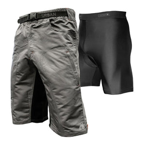THE ENDURO - Men's Grey MTB Shorts with Padded Underliner - Urban Cycling Apparel