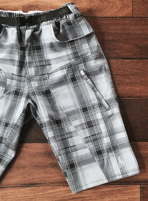 THE ENDURO - Men's Plaid MTB Shorts with Padded Underliner - Urban Cycling Apparel